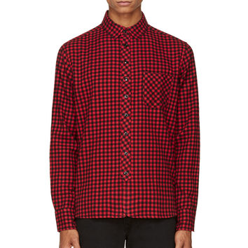 Rag And Bone Red And Black Check Flannel Shirt