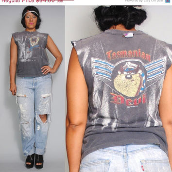 SALE Vintage 1990s faded black paper thin destroyed sleeveless rock TAZ Tasmanian Devil warner brothers  LOONEY Tunes Graphic T-shirt with r