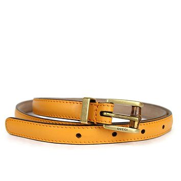 Gucci Women's Leather Bamboo Buckle Skinny Belt 339065