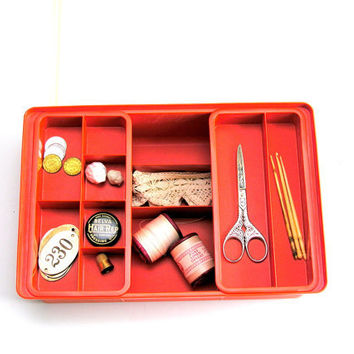 Vintage Tupperware Sewing Organzier Box 4 Piece Mending Kit Two Removeable Trays Orange 1970s Tuppercraft Craft Holder Organizer