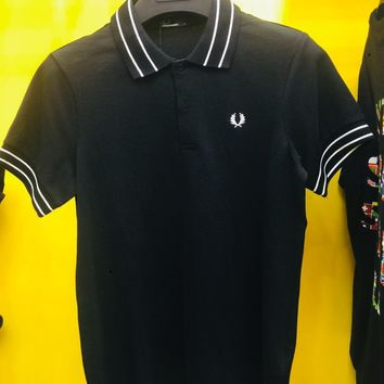 DCCK2 1109 FRED PERRY Double-striped Lapel fashion wheat ear classic collision color lapel POLO Shirt