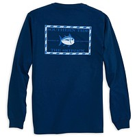 Long Sleeve Original Skipjack Tee Shirt in Yacht Blue by Southern Tide