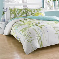 City Scene Mixed Floral Comforter Set (Green)