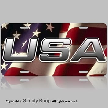 USA American Flag Front Vanity License Plate