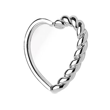 BodyJ4You 16G (1.2mm) Daith Earring Half Braided Heart Silvertone Tragus Cartilage Hoop Piercing Jewelry