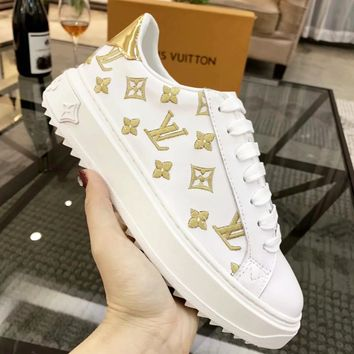 LV Louis Vuitton Fashion Woman Casual Leather Shoes Flats Sneakers White/Golden