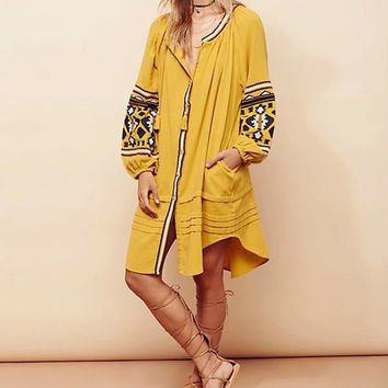 2016 Boho Ethnic Womens Loose Dresses Long Sleeve Strappy Tassels Ruffle Red Yellow Vestido Vintage People Ladies Dress Autumn