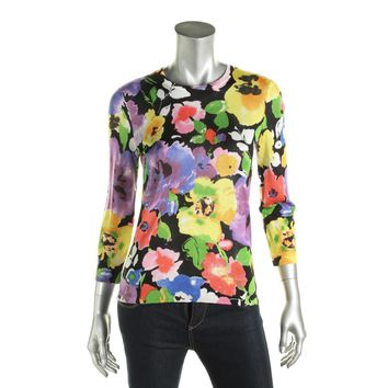 Lauren Ralph Lauren Womens Floral Print 3/4 Sleeves Pullover Sweater