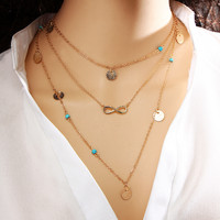 17KM New Multi Layer Gold Color Tassel Infinity Necklace for Women Body Chain Jewellery Bohemian Turquoise Choker Colar collier