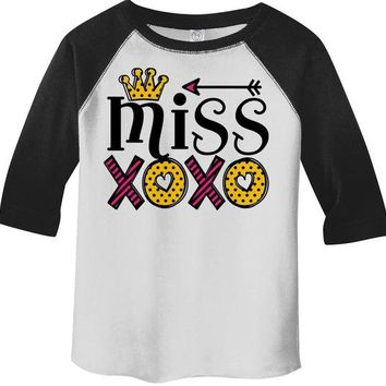 Girl's Valentine's Day T Shirt Little Miss XOXO Shirts Cute Adorable Valentine Tshirt Toddler Tee 3/4 Sleeve Raglan