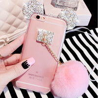 Hot Luxury Rhinestone Mickey Mouse Ear Pink Puffer Ball Cover Cases For iphone6 6S Plus For iphone7 7Plus For Samsung Lady Shell -Girllove100