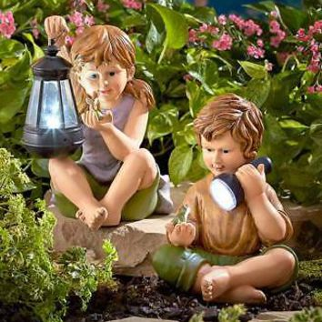Solar Lighted  Children - Girl and/or Boy Statue Yard Garden Patio Home Decor