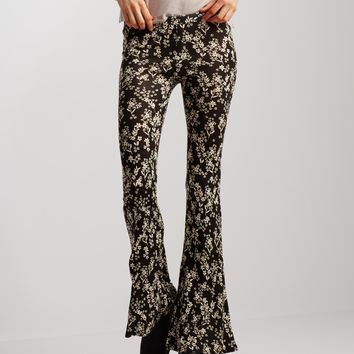Ditsy Floral Knit Flare Pants