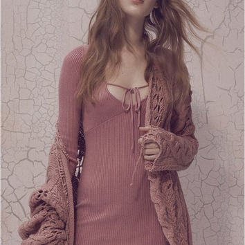 Solid Color Deep V Knitted Mini Dress