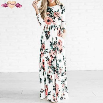 XZreal Floral Print Floor Length Dress Women Summer Bohemian Long Sleeve Beach Dress Casual O Neck Maxi Robe Soft Kimono Z3D148