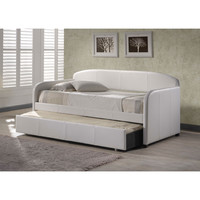 Twin Modern White Faux Leather Daybed with Roll-Out Trundle