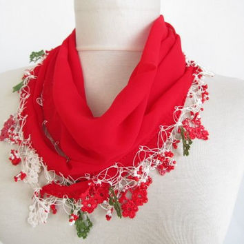 RED scarves-Turkish Oya scarf- chiffon scarf -scarfs or scarves- turkish scarves - scarf fashion -scarf accessories -scarf sale