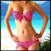 VICTORIAS SECRET PUSH UP BRA PINK BLACK DOT BOW SWIMWEAR BIKINI SWIMSUIT 34C M
