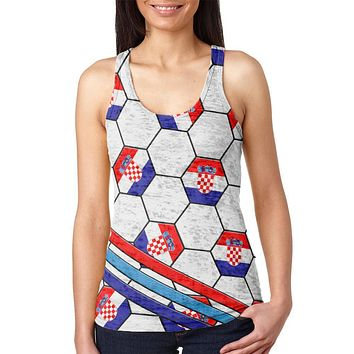 World Cup Croatia Soccer Ball Juniors Burnout Racerback Tank Top