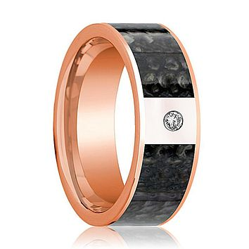 ANZU Flat 14k Rose Gold Blue Dino Bone Ring for Men with Diamond in Center - 8MM