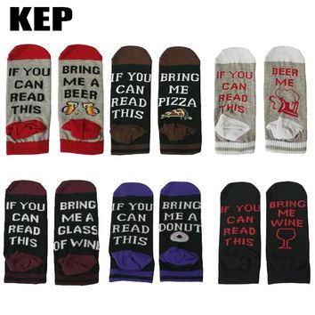 KEP New Trend Fashion Hot Summer Funny Cotton Men Socks Pizza Beer Wine Donut Coffee Pattern Men Women Hip Hop Humor Funny Socks