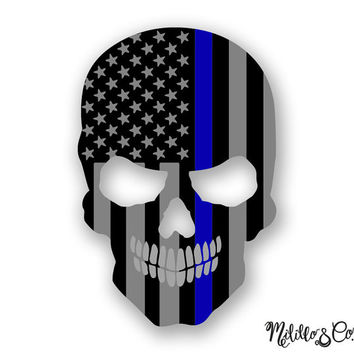 Thin Blue Line Police Flag Skull Car Decal Sticker