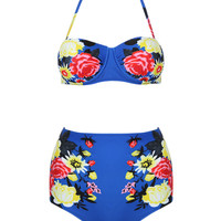 Navy Halter Floral Cupped Bikini Top And High Waist Bottom