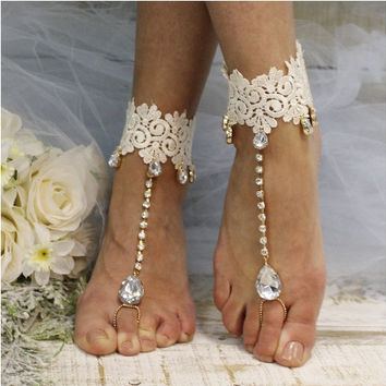 HARLOW  lace barefoot sandals