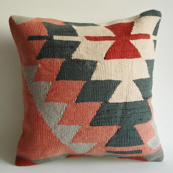 Sukan / Hand Woven  Turkish Antique Kilim Pillow Cover  by sukan