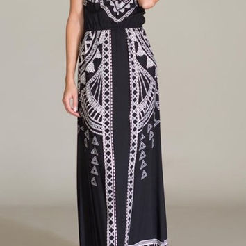 Eliza Bella for Flying Tomato Black & Ivory Boho Beach Halter Dress SML