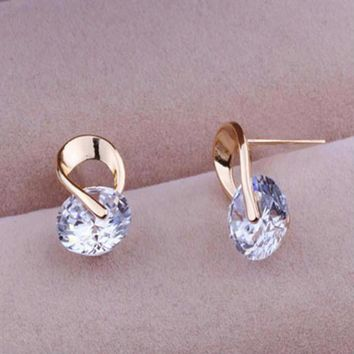 Gold And Silver Finish Cubic Zirconia Earrings