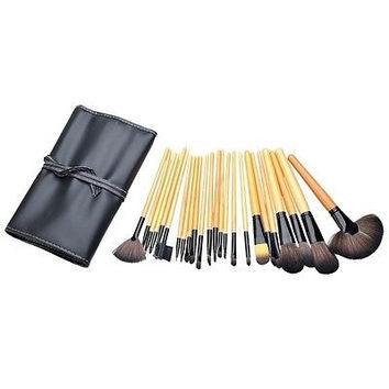Lady BEAUTY Pro Makeup Cosmetic 24pcs Brush Set With Black Faux Leather Bag Hot = 1645728580