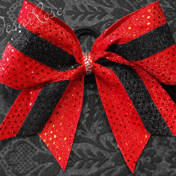 Cheer Bow Texas style Red and Black