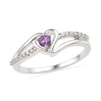 Amethyst and Diamond Accent Heart Promise Ring in Sterling Silver - View All Rings - Zales