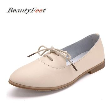 BeautyFeet Spring Women Oxford Shoes Ballerina Flats Shoes Women Genuine Leather Shoes Moccasins Lace Up Loafers White Shoes