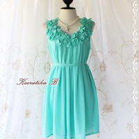 A Party III - Dress - Sweet Party Wedding Bridesmaid Cocktail Dinner Dress Bright Mint Blue Color Heart Ruffle Around Neck XS-M
