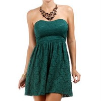 Hunter Green Strapless Lace Dress