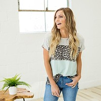 NEW! Heather Gray, Leopard and Mint Color Block Top