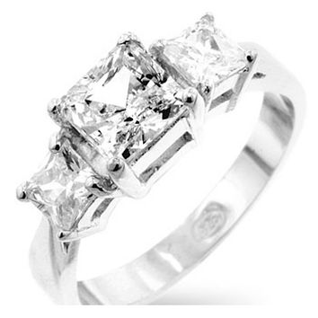 Isotta Three Stone Princess Cut Engagement Ring | 3ct | Cubic Zirconia | Sterling Silver
