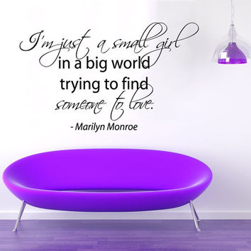 Wall Decals Vinyl Decal Sticker Marilyn Monroe Quote I'm Just A Small Girl In A Big World Beauty Salon Interior Design Bedroom Decor KT161