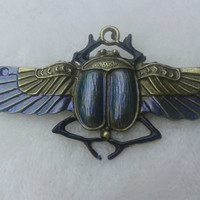 Metallic blue  scarab beetle bronze  brooch  pin