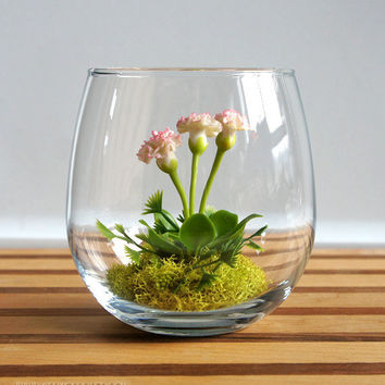 Mini White Carnation Woodland Terrarium by MissMossGifts
