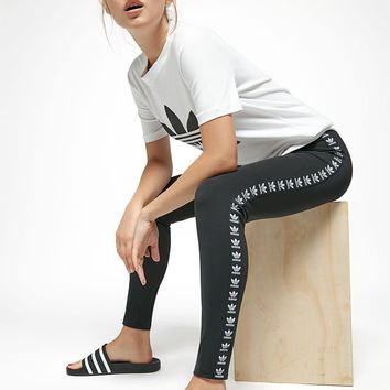 adidas Black Trefoil Taped Leggings at PacSun.com - black | PacSun