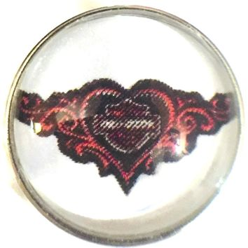 Harley Davidson Motorcycle Pink Heart & Shield Biker Babe 18MM - 20MM Snap Charm for Snap Jewelry