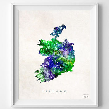 Ireland Map, Watercolor, Irish, British, Europe, Home Town, Poster, Gift, Nursery, Living Room, Baby, Painting, Bedroom, world map [NO 461]