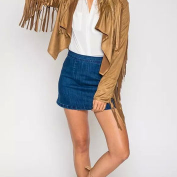 Winter Women's Fashion Tassels Jacket [6512979591]