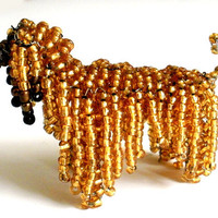 Afghan Hound Beaded Dog Sculpture