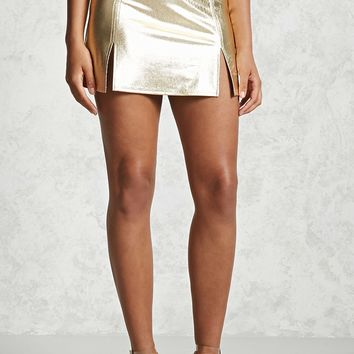 Metallic Mini Slit Skirt