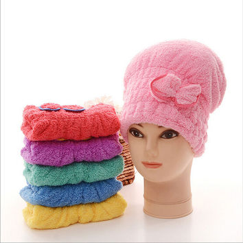 Microfiber Hair Turban Quickly Dry Hair Hat Wrapped Coral Velvet Towel Bath