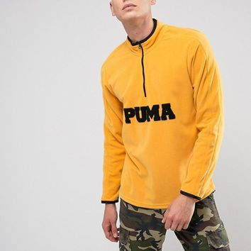 Puma Half Zip Borg Fleece In Yellow Exclusive to ASOS 57658302 at asos.com
